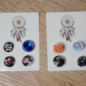 8 12mm Snap Buttons Snaps Bundle Rose Flower Cross